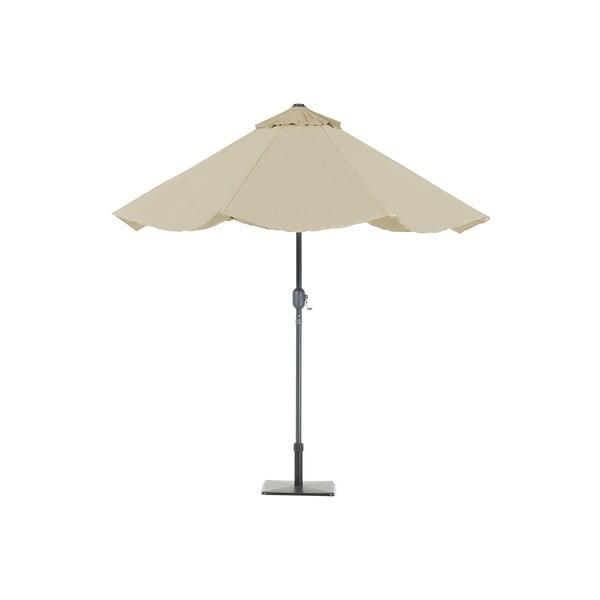Béžový zahradní slunečník s LED světélky Monobeli Shining