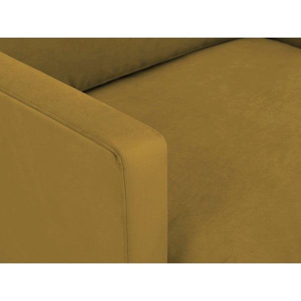 Žluté křeslo s podnožím v černé barvě Windsor & Co Sofas Jupiter