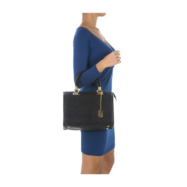 Tmavě modrá kožená kabelka Federica Bassi Eos