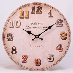 Dřevěné hodiny La vie en rose, 34x34 cm