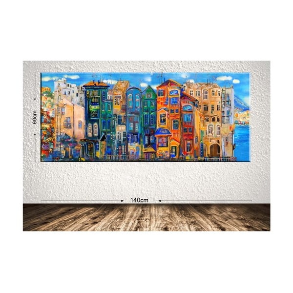 Tablou Tablo Center Colorful Houses, 140 x 60 cm