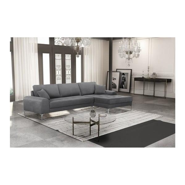 Set canapea gri cu șezlong pe partea dreaptă, 4 scaune gri antracit și saltea 160 x 200 cm Home Essentials