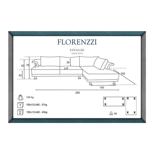 Tmavě šedá pohovka Florenzzi Einaudi s lenoškou na pravé straně