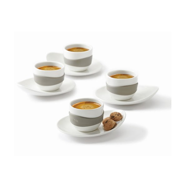 Set čtyř šálků na espresso s podšálky, Leaf, černý