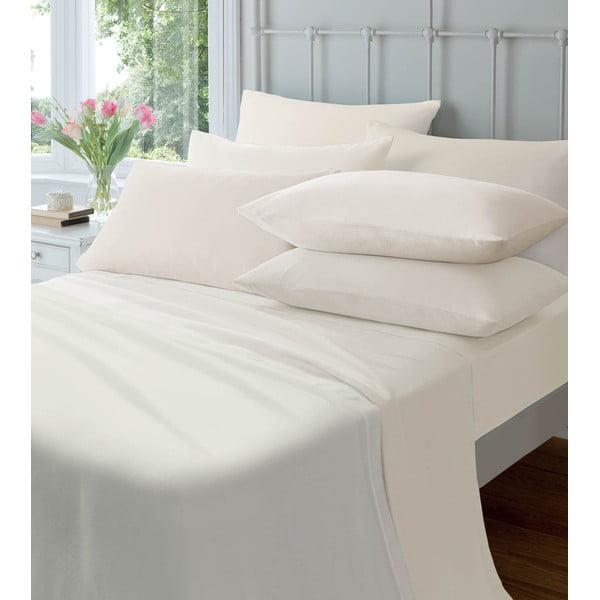 Elastické prostěradlo Plain Flette Cream, 90x190 cm