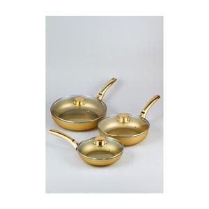 Sada 3 pánví s pokličkami Bisetti Stonegold Gold Handles