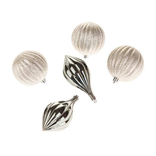 Set 5 decorațiuni supendate Dakls, argintiu