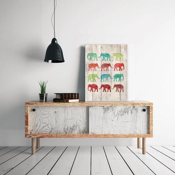 Dřevěná cedule Elephants