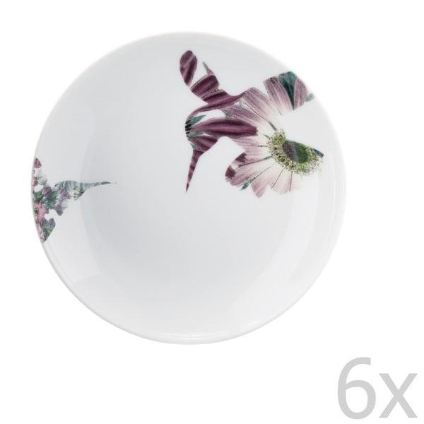 Sada 6 porcelánových dezerní talířů Flutter, 14 cm
