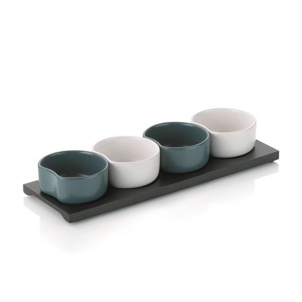 Sada keramických misek Quadrillo, šedá/bílá