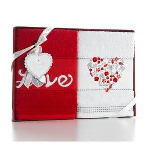 Sada 2 osušek Red Love, 50x90 cm
