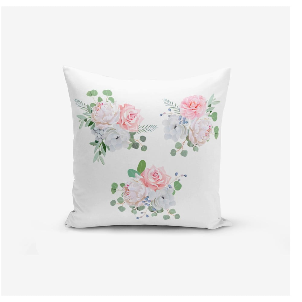 Povlak na polštář s příměsí bavlny Minimalist Cushion Covers Three Soft Flowers, 45 x 45 cm