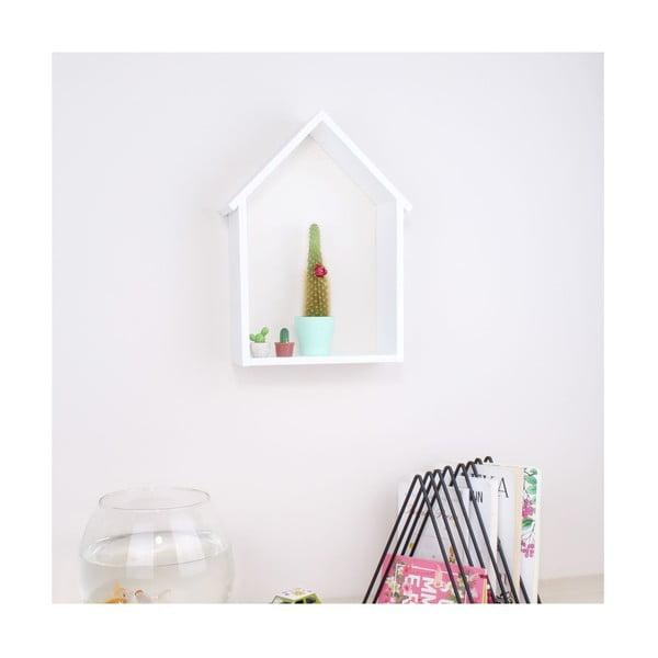 Bílá dřevěná nástěnná polička North Carolina Scandinavian Home Decors House