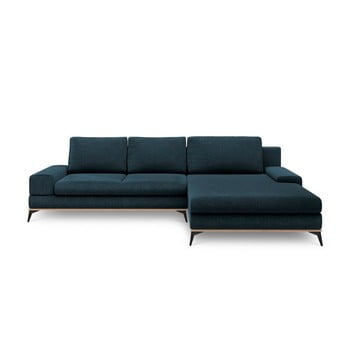 Canapea extensibilă de colț Windsor & Co Sofas Planet, pe partea dreaptă, albastru petrol de la Windsor & Co Sofas