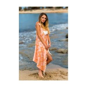 Oranžové plážové pareo z bavlny a bambusu s kapucí Begonville