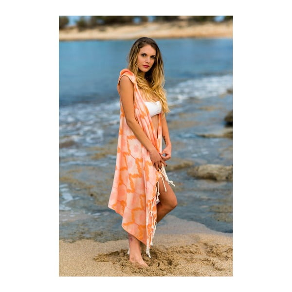 Pomarańczowe pareo plażowe z bawełny i bambusu z kapturem Begonville