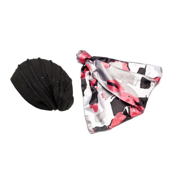 Čepice se šátkem Black, Red and White
