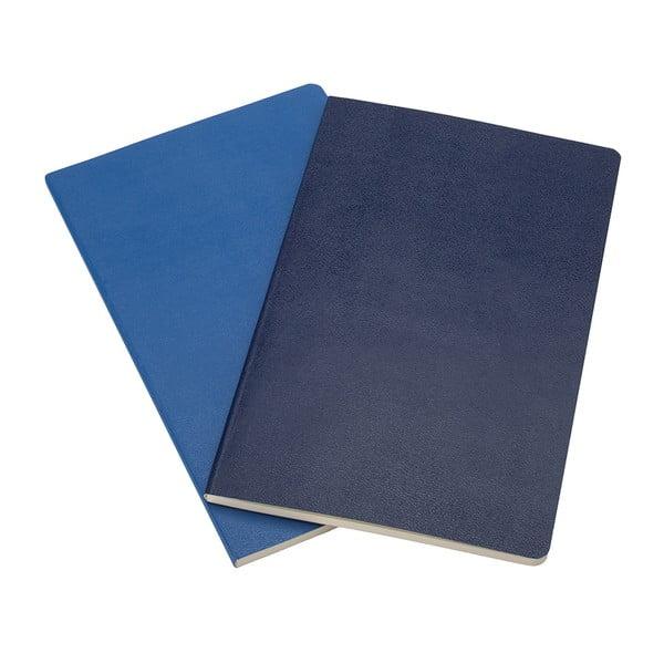 Sada 2 notesů Moleskine Antwerp Blue, linkované 9x14 cm