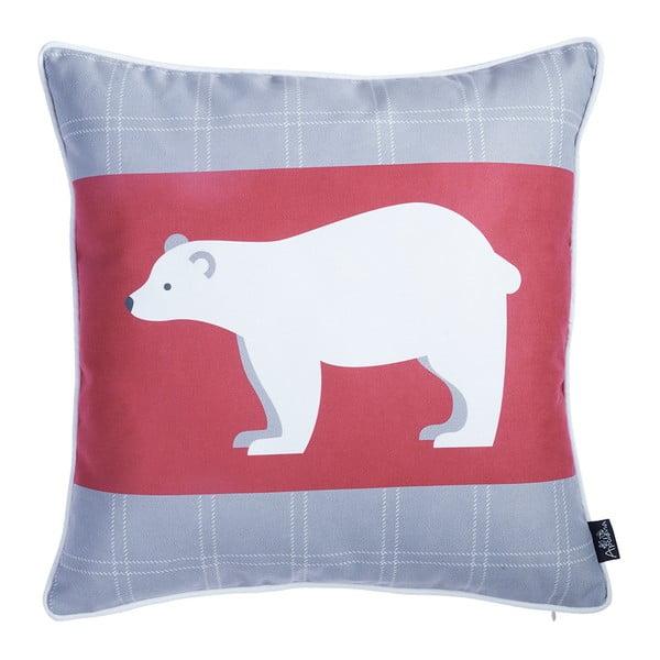 Červeno-sivá obliečka na vankúš s vianočným motívom Apolena Honey Polar Bear, 45×45 cm