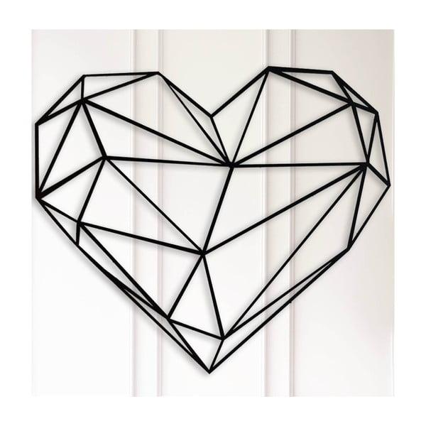 Černá nástěnná dekorace Polygon Heart