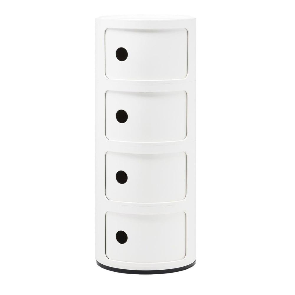 Bílý kontejner se 4 zásuvkami Kartell Componibili