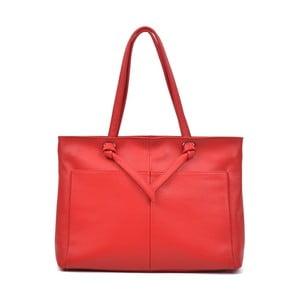 Červená kožená kabelka Anna Luchini Layo