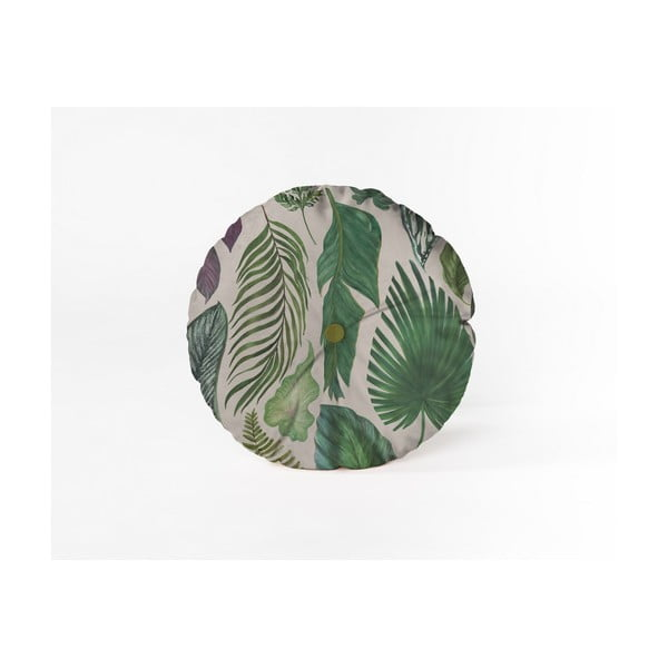 Pernă decorativă rotundă Velvet Atelier Leaves, ⌀ 45 cm