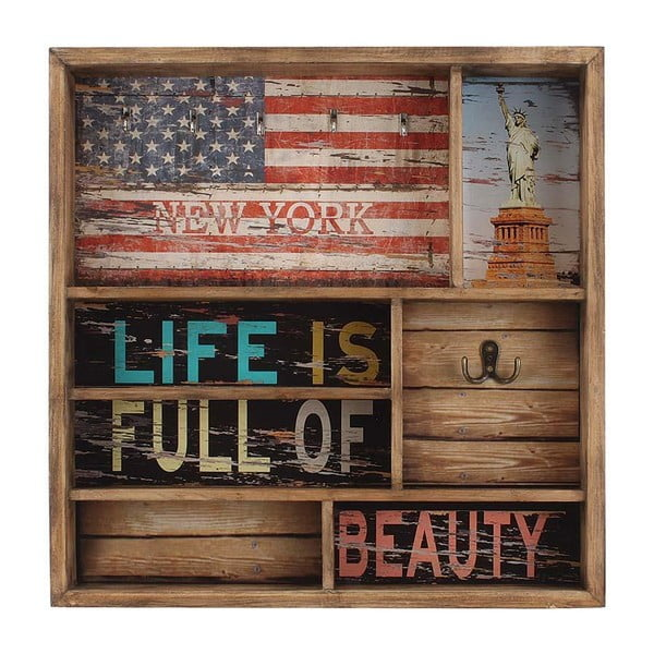 Nástěnná polička s háčkem American Flag, 51 cm