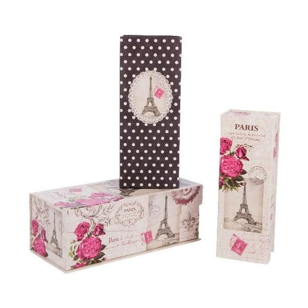 Sada 3 úložných krabic Love Life