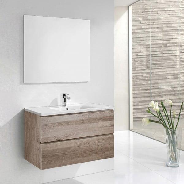 Koupelnová skříňka s umyvadlem a zrcadlem Monza, dekor dubu, 120 cm
