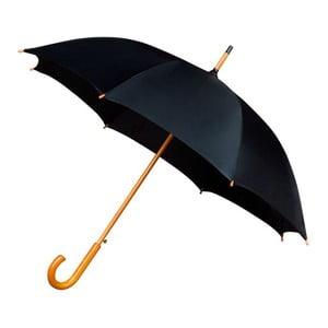 Černý deštník sdřevěným madlem Ambiance Wooden, ⌀102cm