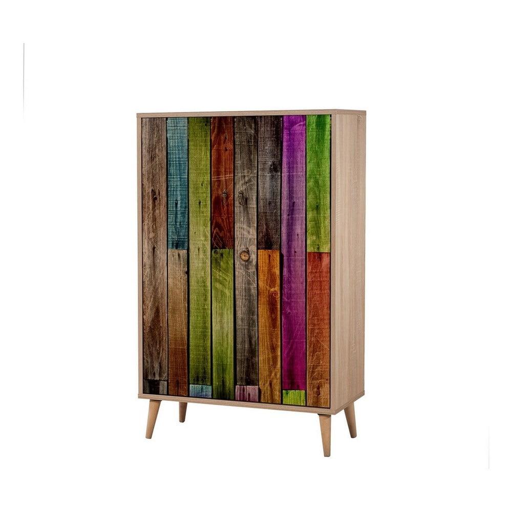Dřevěná skříň Ananias Rainbow, výška 127 cm