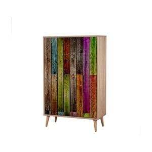 Dřevěná skříň Ananias Rainbow, výška 127cm