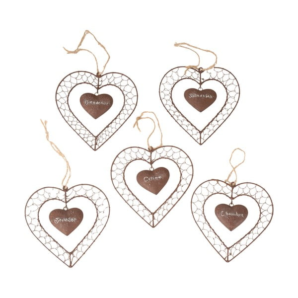 Sada 5 závěsných dekorací Antic Line Heart