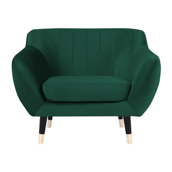 Zelené křeslo s černými nohami Mazzini Sofas Benito