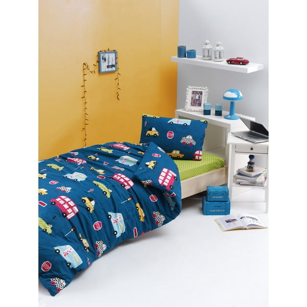 Lenjerie de pat din bumbac ranforce pentru pat de 1 persoană Mijolnir Paula Blue, 140 x 200 cm