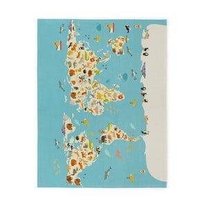 Dětský ručně vyrobený koberec Naf Naf World Map, 120 x160cm