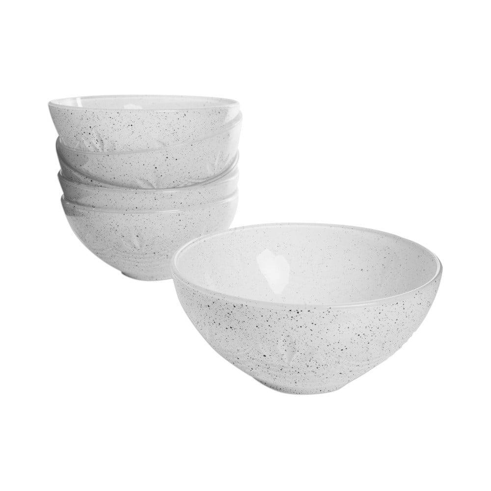 Sada 6 bílých skleněných misek Mezzo, ⌀ 12 cm