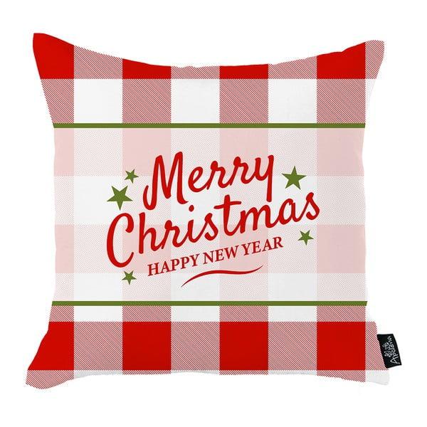 Bielo-červená vianočná obliečka na vankúš Apolena Honey Merry Christmas and Happy New Year, 45 x 45 cm