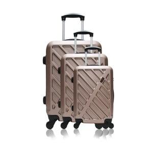 Sada 3 cestovních kufrů na kolečkách v barvě růžového zlata Hero Roma