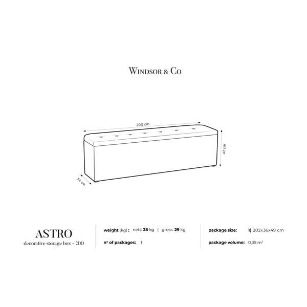 Černý otoman s úložným prostorem Windsor & Co Sofas Astro, 200 x 47 cm