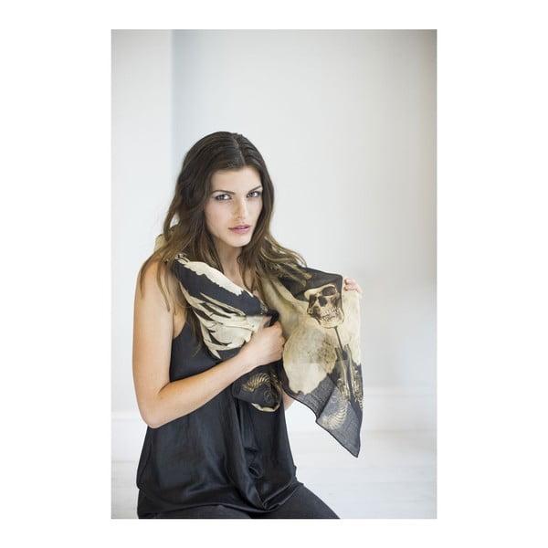 Vlněný šátek s kašmírem Guns Black, 130x130 cm