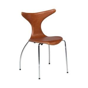 Hnědá kožená jídelní židle s pochromovaným podnožím DAN–FORM Dolphin