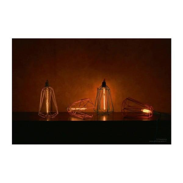 Světlo s černým stínítkem a červeným kabelem Filament Style Diamond #3