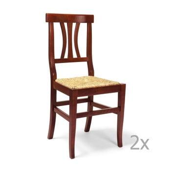 Set 2 scaune din lemn și paie Castagnetti Straw