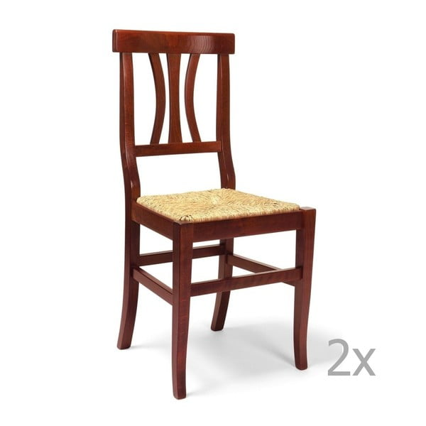 Sada 2 drevených jedálenských stoličiek Castagnetti Straw