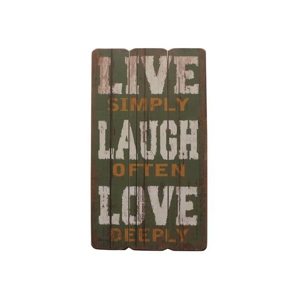 Závěsná cedule Live, Laugh, Love, 60x30 cm