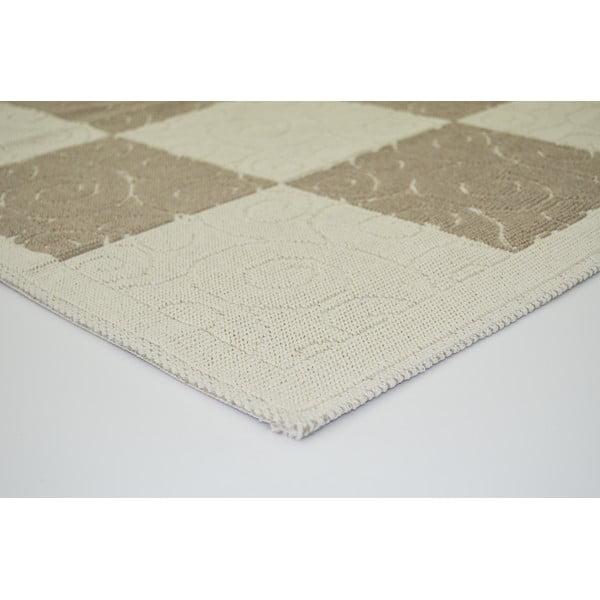 Béžový odolný koberec Vitaus Patchwork Bej, 80 x 300 cm