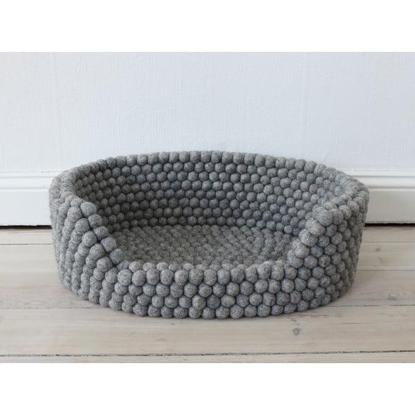 Pat cu bile din lână, pentru animale de companie Wooldot Ball Pet Basket, 40 x 30 cm, gri oțel