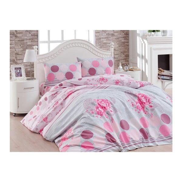 Różowa pościel jednoosobowa z bawełny rainforce Lover, 160x220 cm